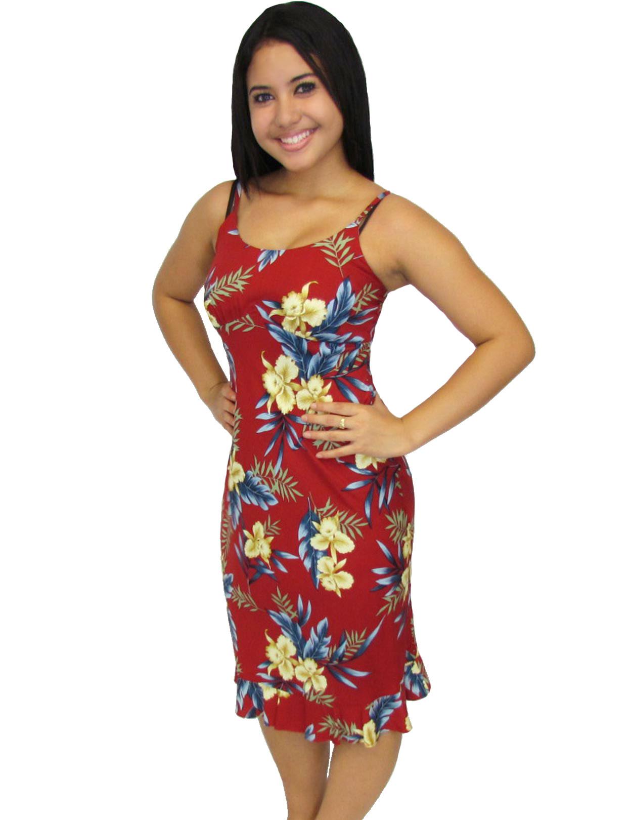 db433cd39a3 Rayon Midi Slip Spaghetti Straps Dress Okalani Red  Shaka Time Hawaii  Clothing Store