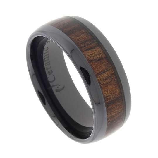 5ef72a313e0eba Black Ceramic Wedding Band with Koa Wood Inlay  Shaka Time Hawaii Clothing  Store