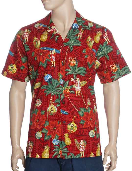 d7b9feb9 Santa in Hawaii Christmas Ornaments Aloha Shirt: Shaka Time Hawaii Clothing  Store