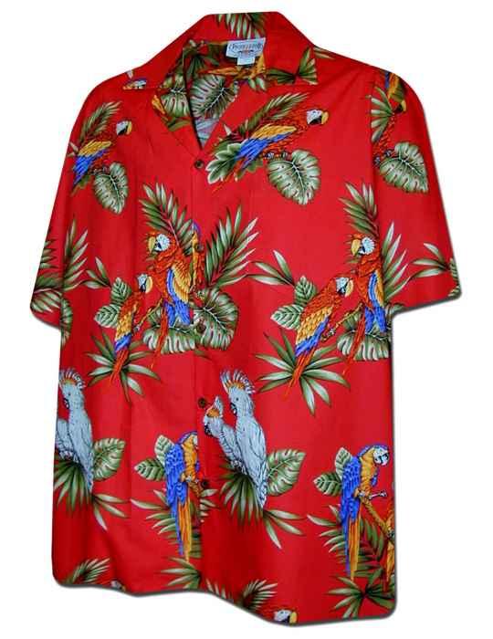 425e5206 Parrots Island Men's Tropical Shirt: Shaka Time Hawaii Clothing Store