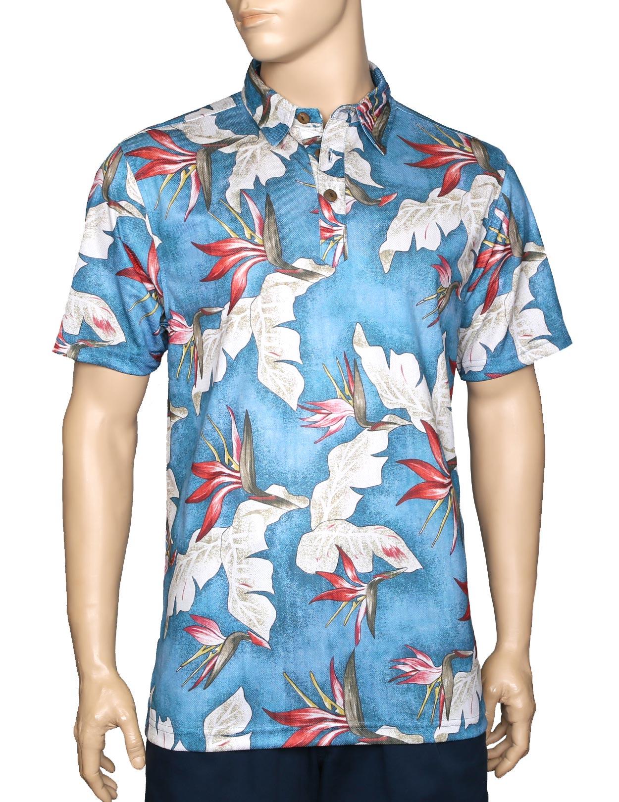 Birds Of Paradise Blue Polo Shirt Wrinkle Free Shaka Time Hawaii