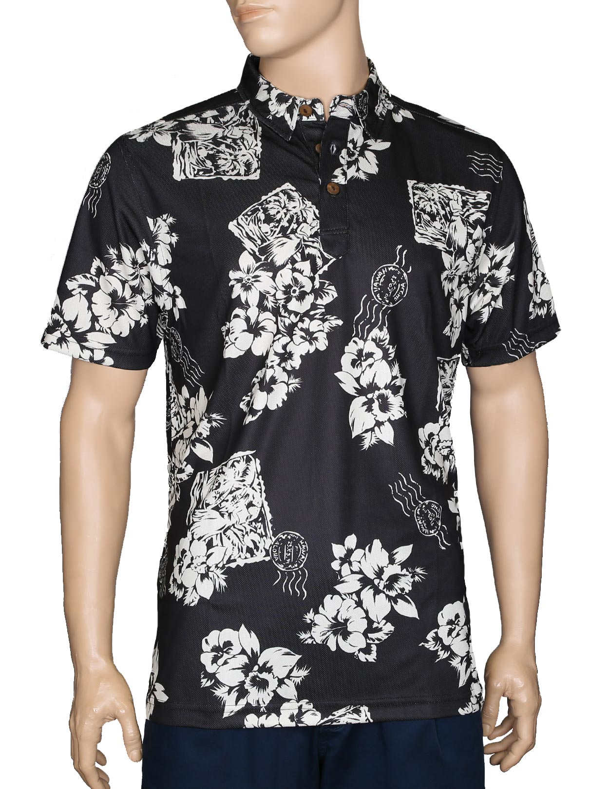 Floral postcard black polo shirt wrinkle free shaka time for Black fitted polo shirt