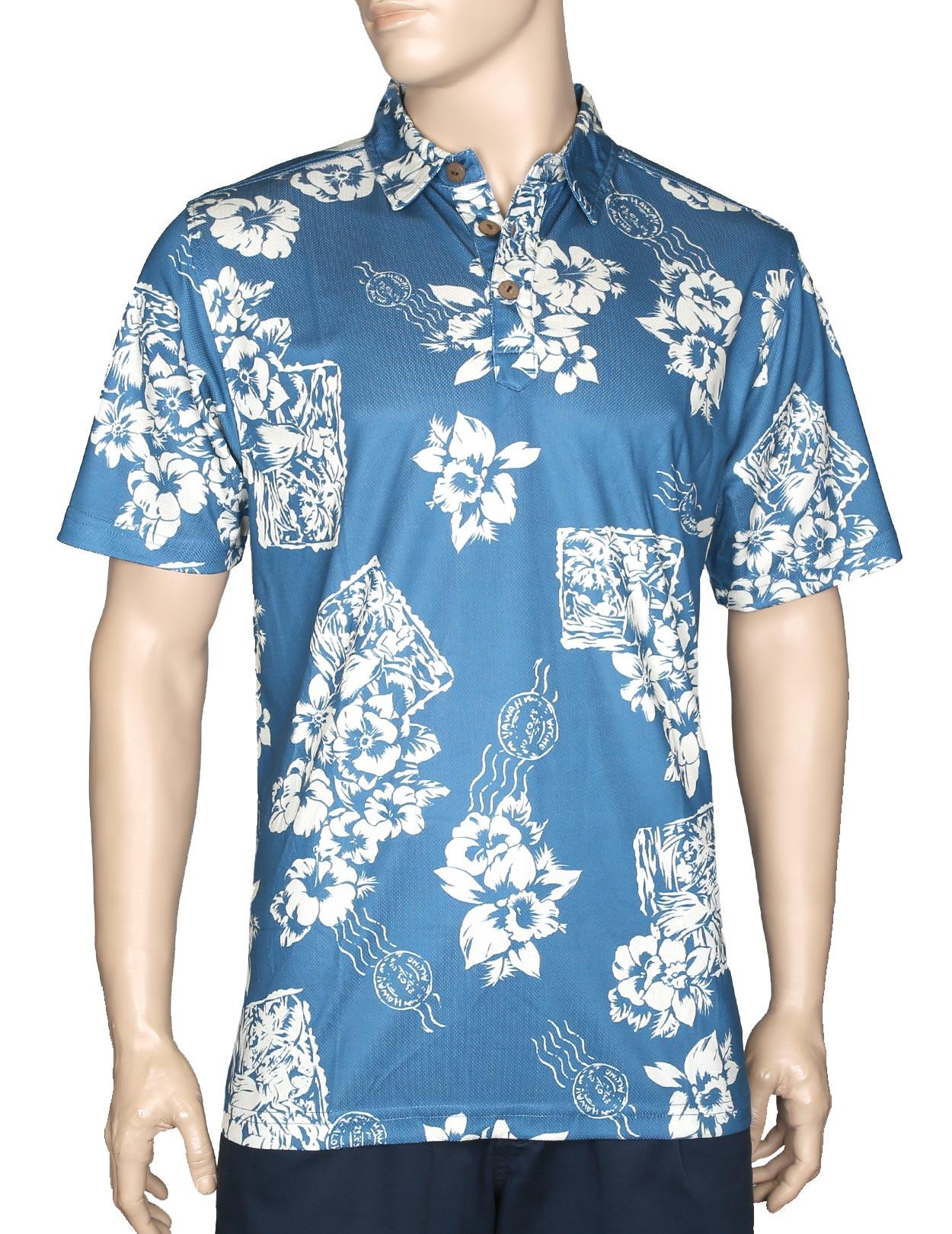 Floral Postcard Blue Polo Shirt Wrinkle Free Shaka Time Hawaii