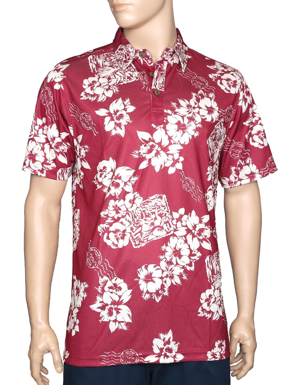 Floral Postcard Maroon Polo Shirt Wrinkle Free Shaka Time Hawaii