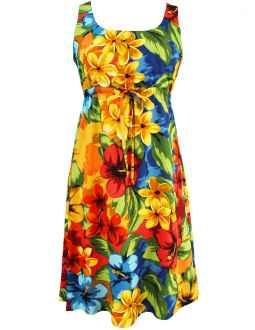 df63fa4d00160 Short Hawaiian Dress Adjustable Empire Waist Hibiscus Watercolors