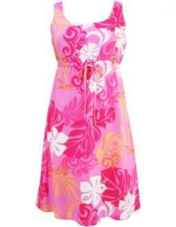 16127efce57 Hibiscus Monstera Short Hawaiian Dress with Adjustable Empire Waist