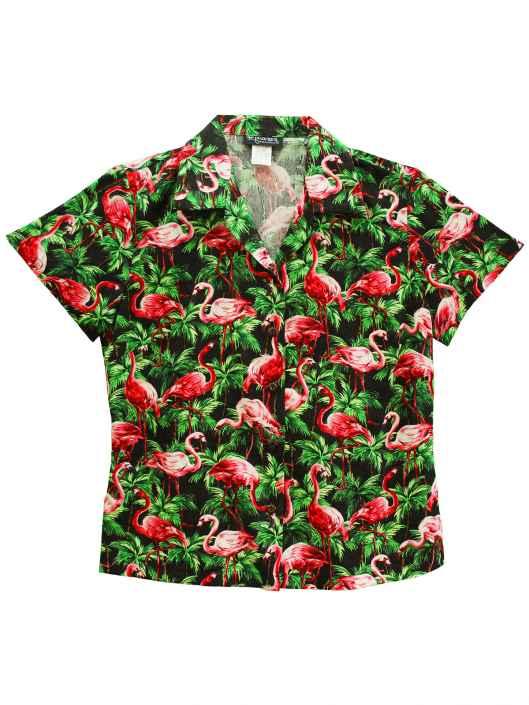 404fdfb85f48e8 Flamingos Palms Forest Hawaiian Blouse: Shaka Time Hawaii Clothing Store