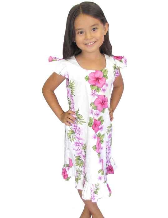 3e6c3e9bad Girl's Hawaiian Dress Big Island White Pink: Shaka Time Hawaii Clothing  Store