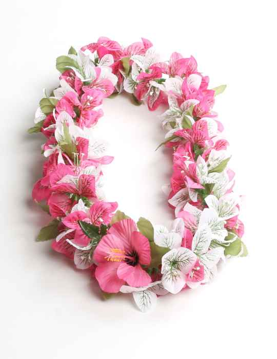 Bougainvillea white pink silk hawaii lei shaka time hawaii clothing bougainvillea white pink silk hawaii lei mightylinksfo