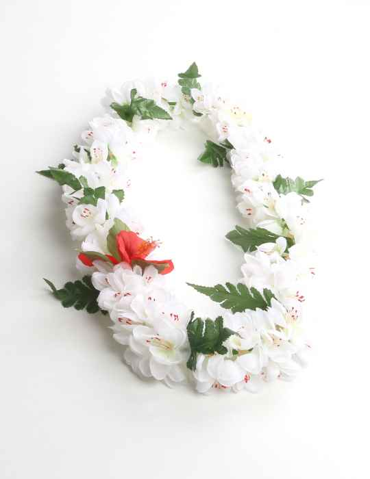 White shell ginger silk flower lei shaka time hawaii clothing store white shell ginger silk flower lei mightylinksfo