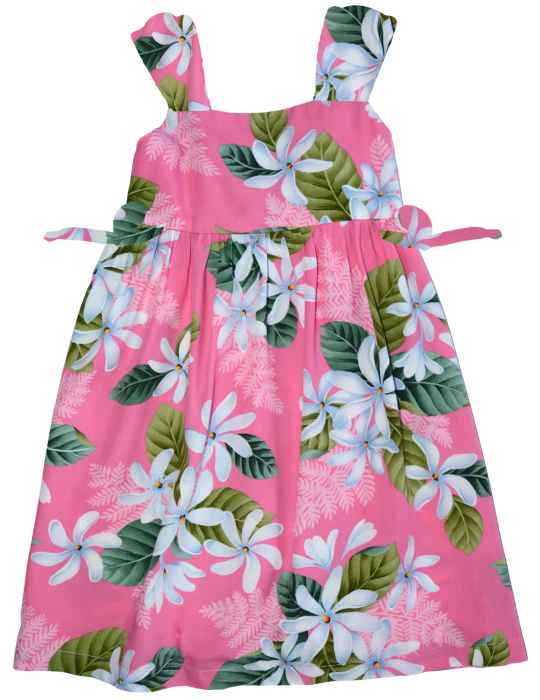 2cf94603a Girl's Hawaiian Dress White Tiare with Bungee Straps: Shaka Time Hawaii  Clothing Store