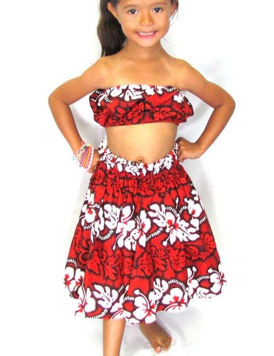 342ca5e3 Red Hawaiian Hula Skirt and Top Set for Girls: Shaka Time Hawaii Clothing  Store