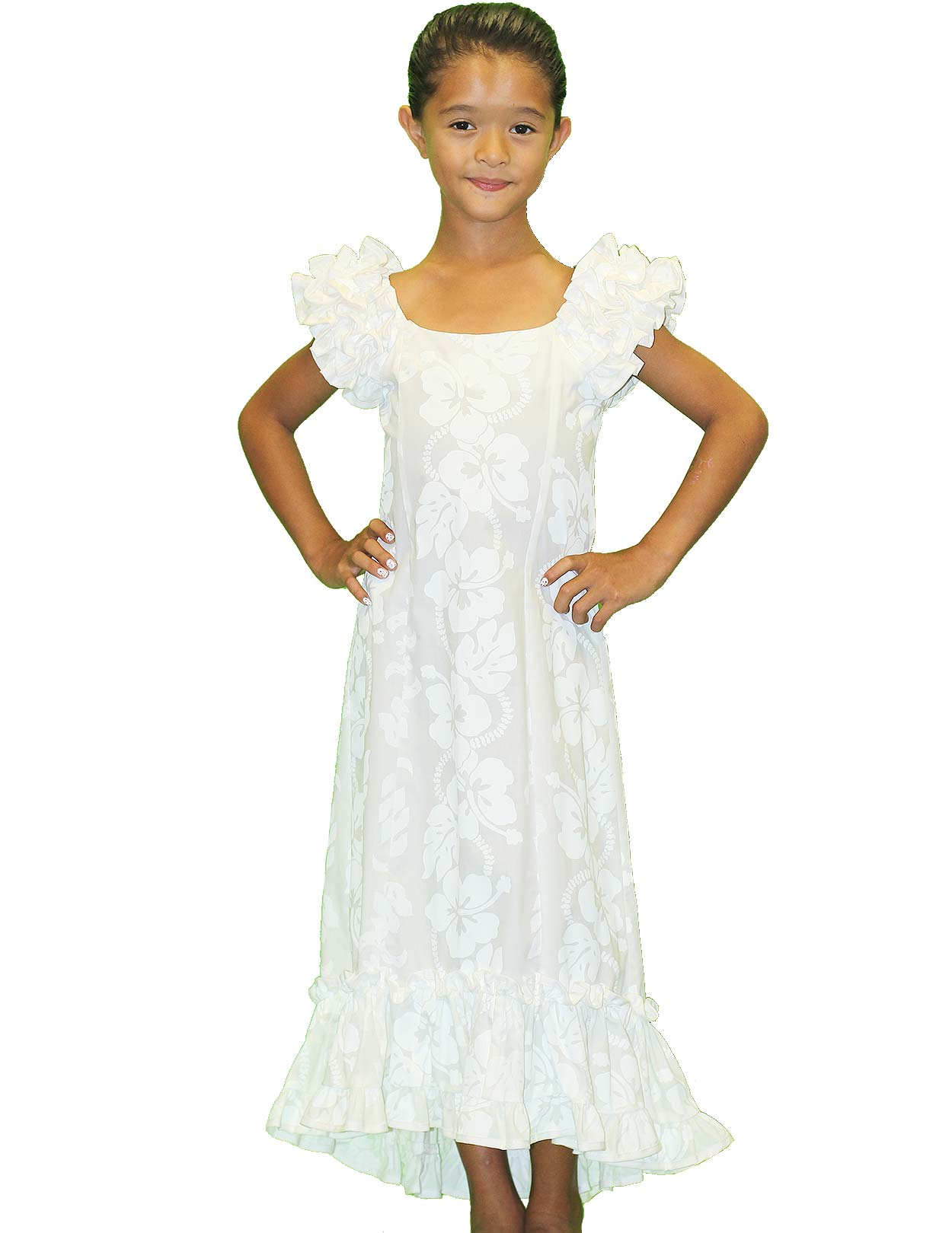 Girls Ruffled Hawaiian Muumuu Dress White Hibiscus Shaka