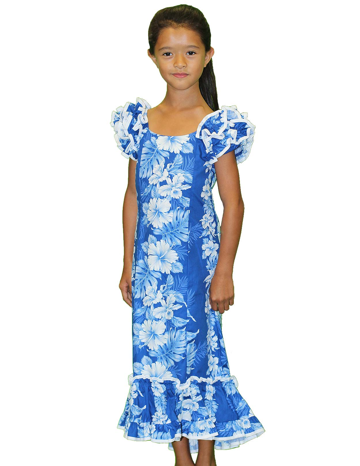 Girls ruffled royal blue muumuu dress haku laape shaka time girls ruffled royal blue muumuu dress haku laape shaka time hawaii clothing store ombrellifo Image collections
