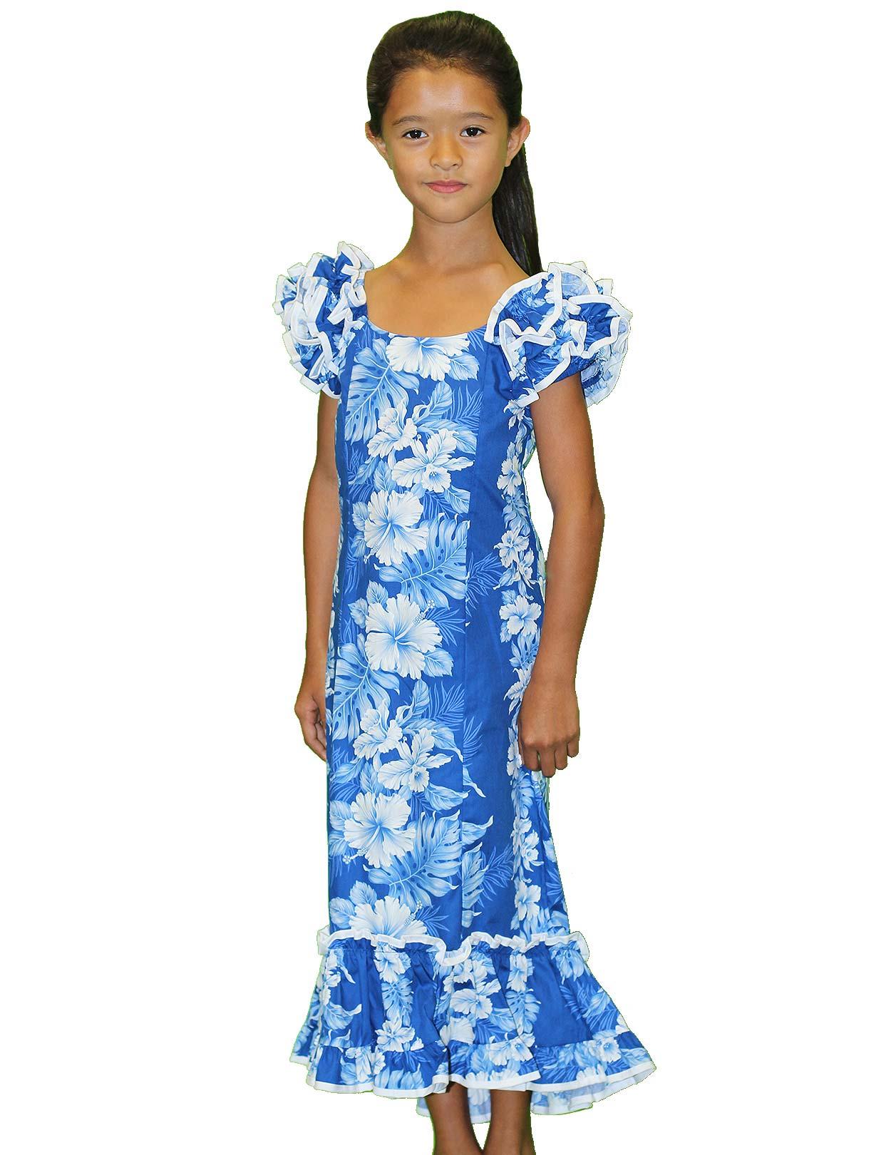 Girls Ruffled Royal Blue Muumuu Dress Haku Laape Shaka