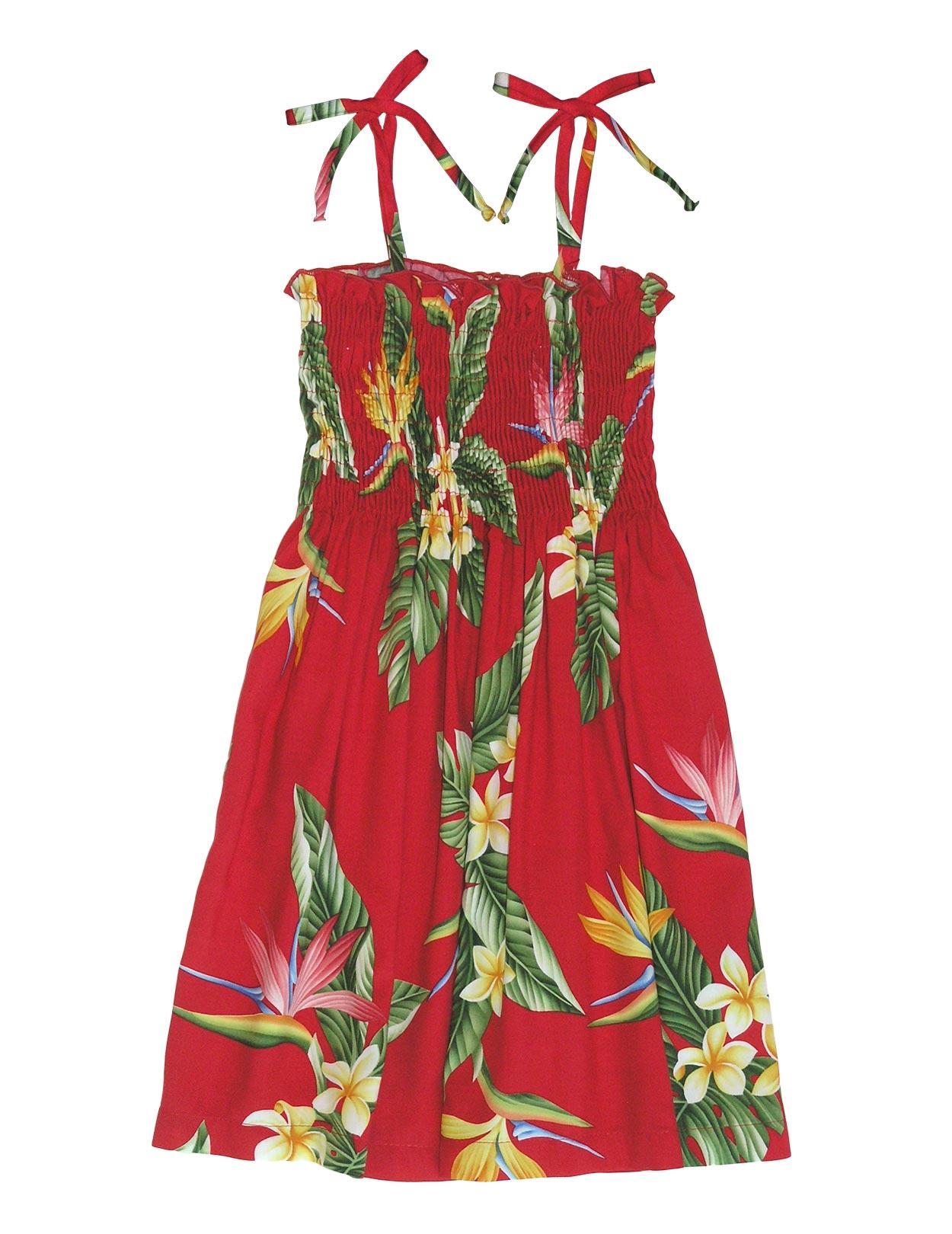 Smocked Top Girls Hawaiian Dress Birds Of Paradise Shaka