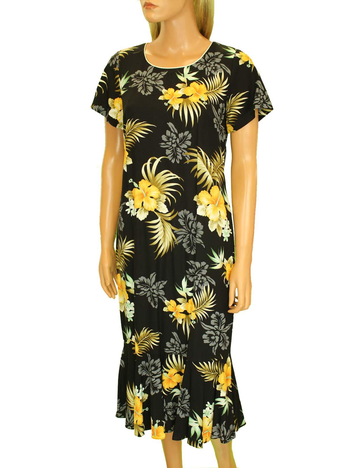 Hawaiian mid length dress with sleeves birds of paradise for Hawaiian wedding dresses with sleeves