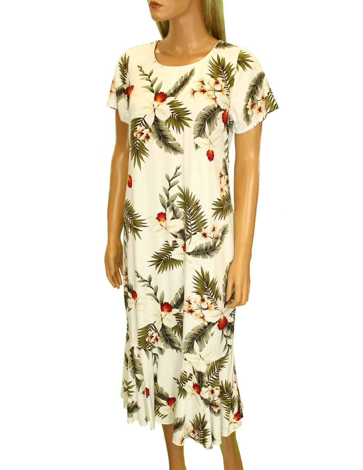 Midi aloha dress with sleeves hanapepe design shaka time for Hawaiian wedding dresses with sleeves