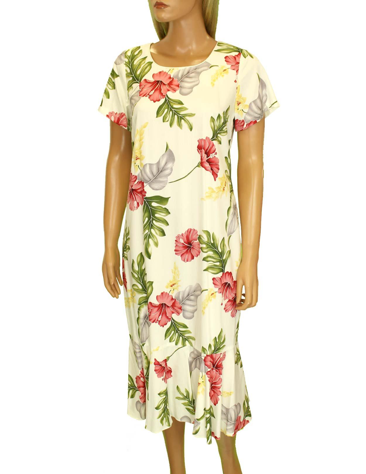 Hawaiian dress midi with sleeves lanai monstera shaka for Plus size hawaiian wedding dresses