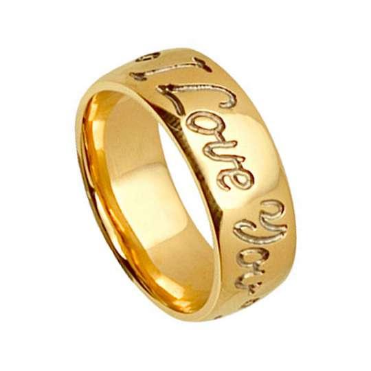 Gold Wedding Ring - I love You Forever
