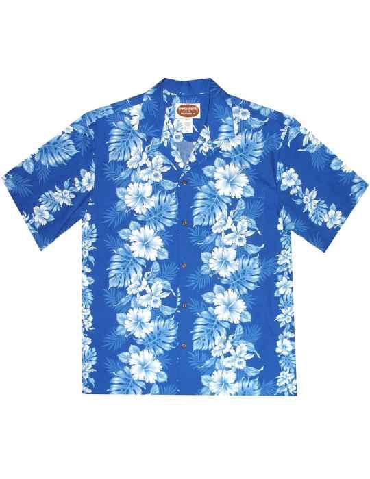 556d60b753 Hawaiian Aloha Shirt Haku Laape Royal Blue: Shaka Time Hawaii Clothing Store