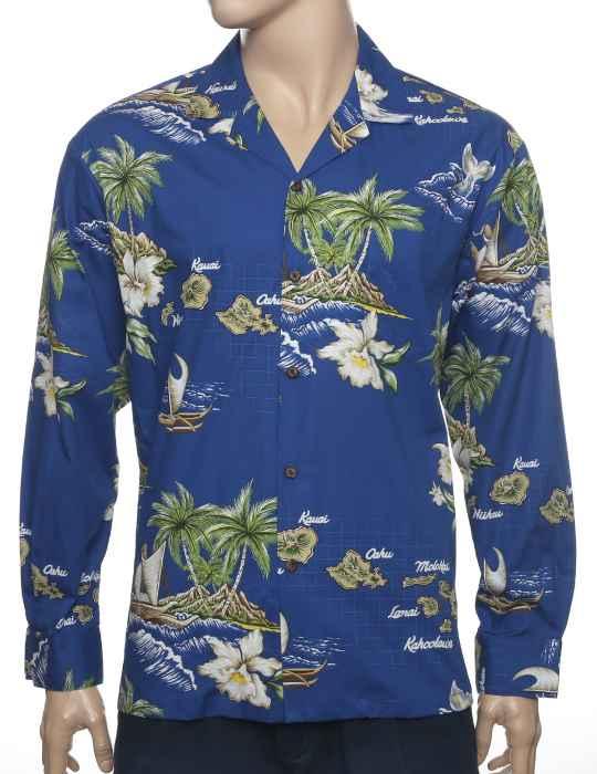 981dcbde Hawaii Islands Long Cotton Royal Blue Shirt: Shaka Time Hawaii Clothing  Store