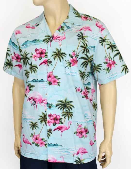 2440bf6b53e526 Flamingos Tropical Men's Shirt: Shaka Time Hawaii Clothing Store