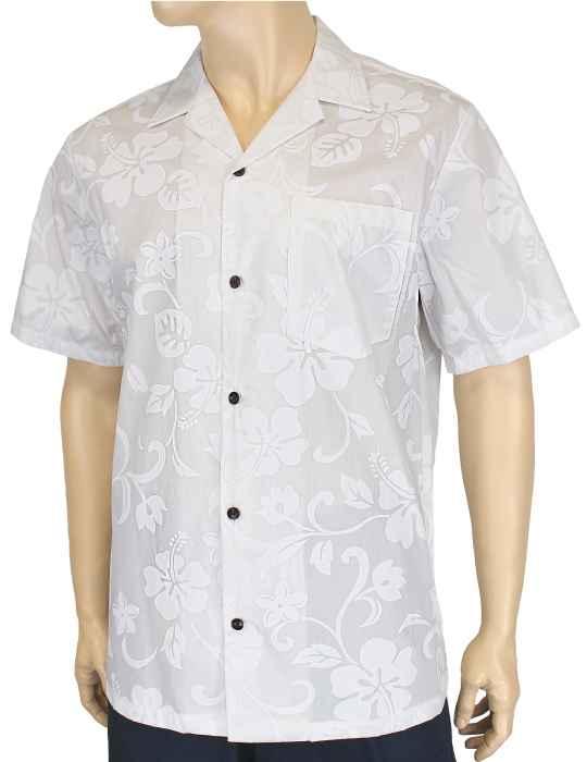 103cd9b528d Kaneohe Hawaiian White Hibiscus Shirt  Shaka Time Hawaii Clothing Store