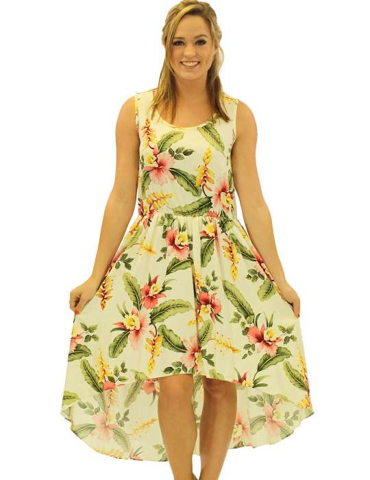 050ebbf2d2f4 Orchid Pua Mid Length Tropical High Low Dress: Shaka Time Hawaii Clothing  Store