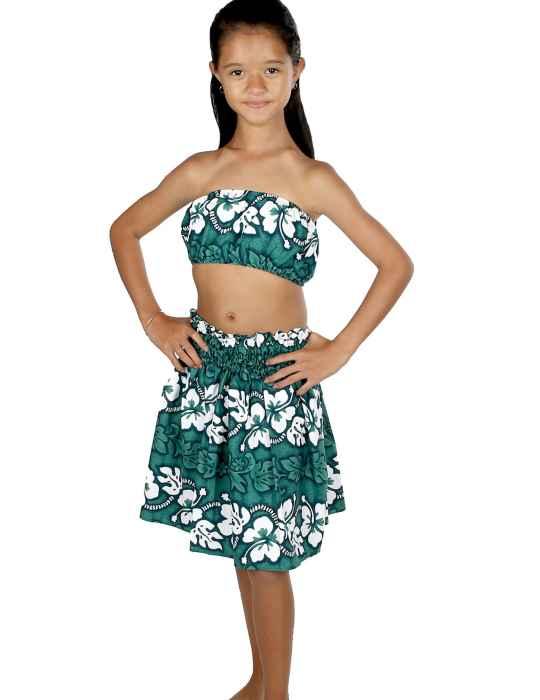 Green Girls Pau Hula Skirt And Top Set Hawaiian