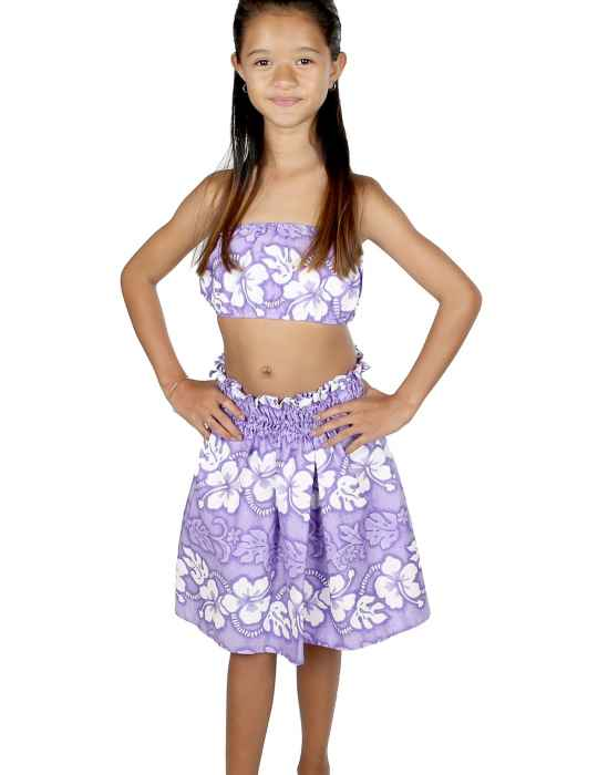 6684d97ab72 Girl s Top and Skirt Purple Hula Set Hawaiian Hibiscus Leis  Shaka Time  Hawaii Clothing Store