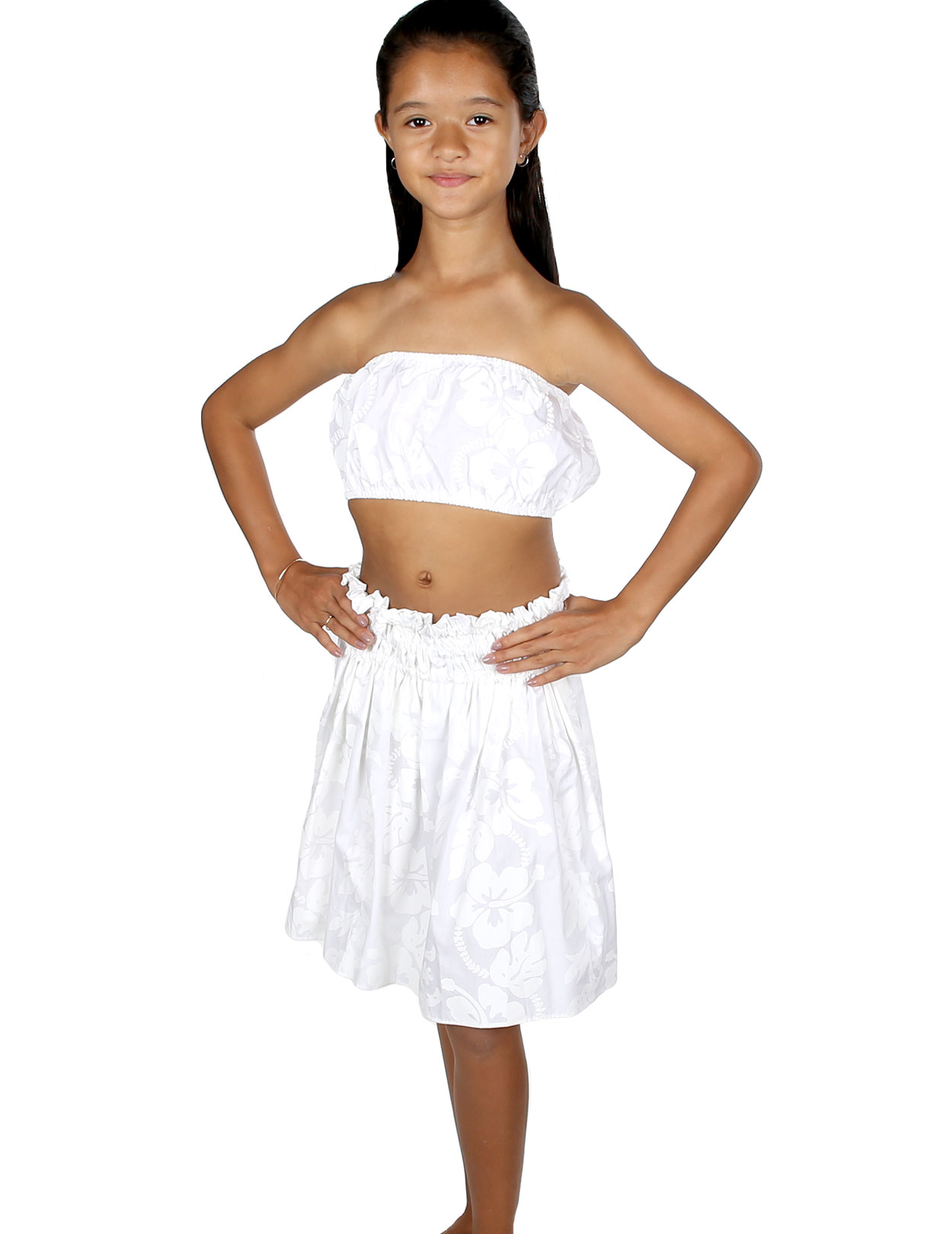 White Hula Skirt And Top Set For Girls Hawaiian Shaka