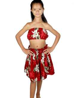 Girls Hula Skirt And Top Set Orchids Makani Red