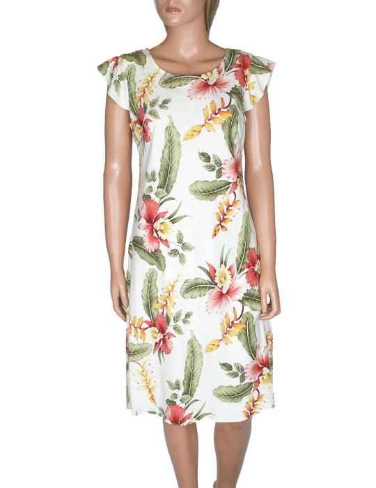 adb1b2691e69 Knee Length Hawaiian Dress Orchid Pua Sleeved: Shaka Time Hawaii Clothing  Store