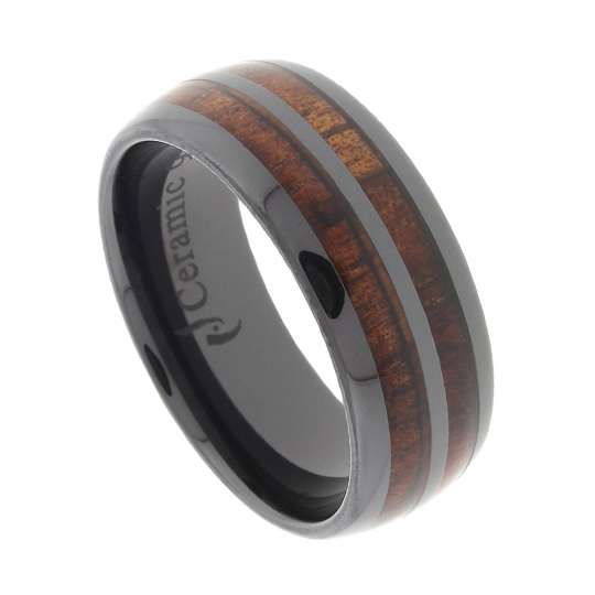 black ceramic wedding ring double row koa wood inlay - Ceramic Wedding Rings