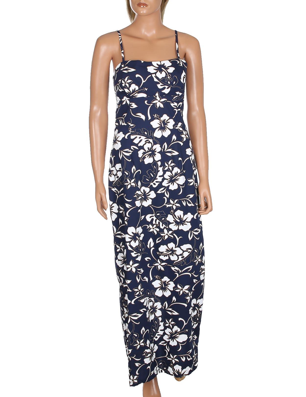 42ee8f025f4 Long Maxi Aloha Dress Spaghetti Straps Classic Hibiscus Pareo  Shaka Time  Hawaii Clothing Store
