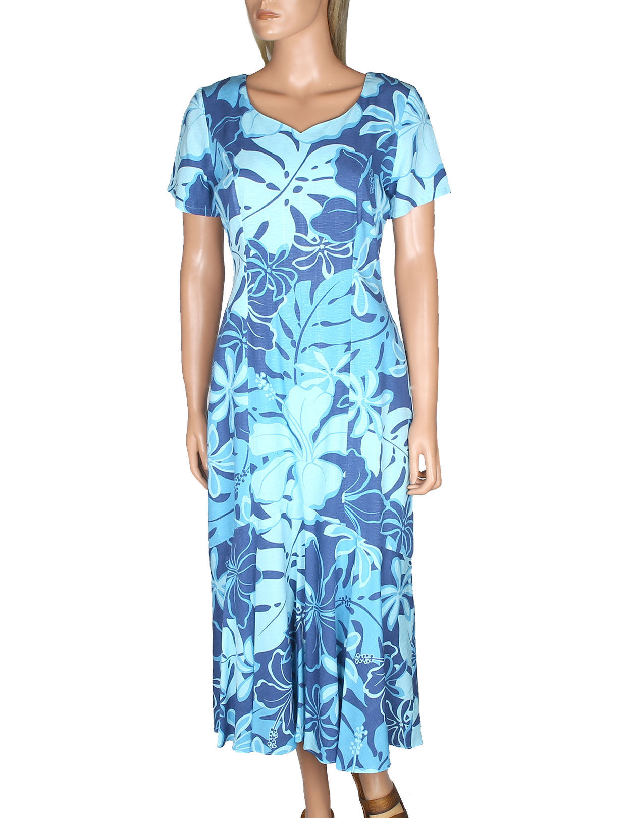 Royal Hibiscus Tea Length Hawaiian Dress Short Sleeves