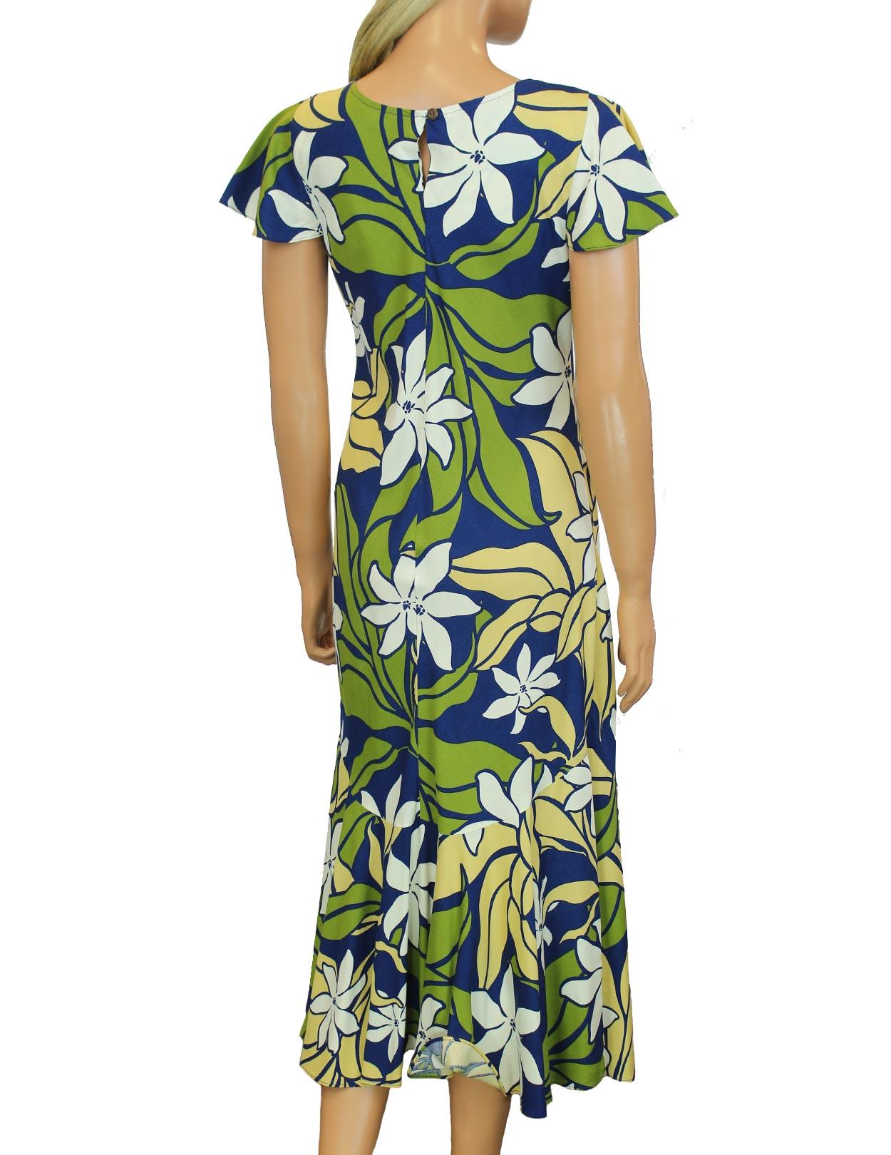 Aloha midi cap sleeves dress tiare shaka time hawaii for Hawaiian wedding dresses with sleeves