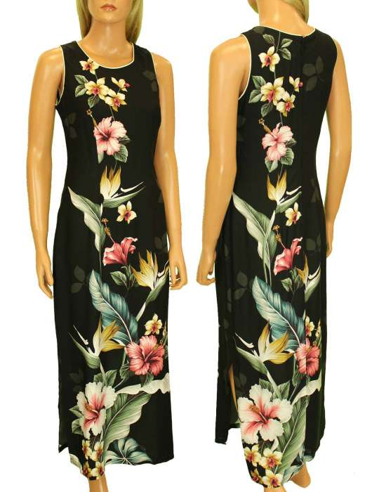 Long Maxi Hawaiian Dress Birds of Paradise Hibiscus Design