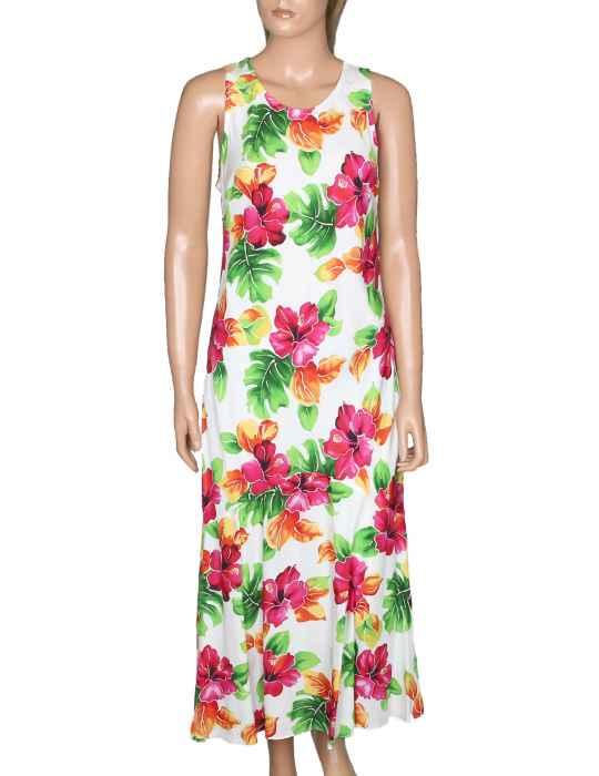 af2ccc183d7 Long Maxi Hawaiian Dress Hibiscus Watercolor  Shaka Time Hawaii Clothing  Store