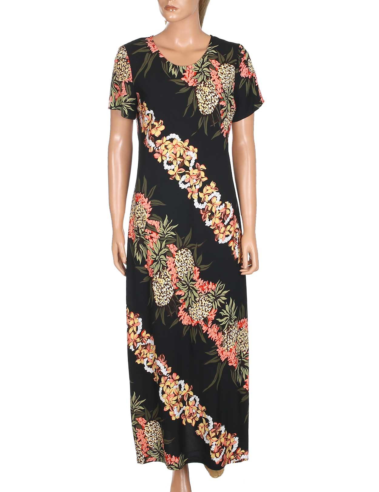 Pineapple panel long maxi dress with sleeves shaka time for Hawaiian wedding dresses with sleeves