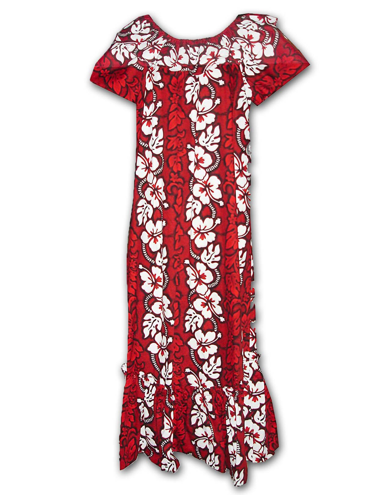 Long Hawaiian Muumuu Tropical Hibiscus Shaka Time Hawaii