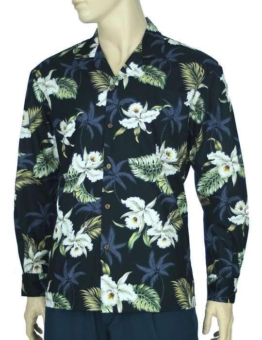 Orchids Makani Long Sleeve Aloha Shirt. ‹