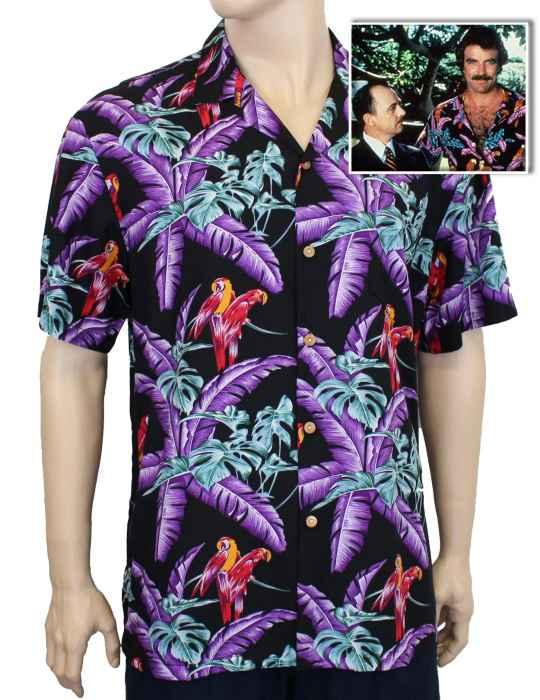 b7af3e9b Black Jungle Bird Rayon Aloha Shirt a Magnum PI Design: Shaka Time Hawaii  Clothing Store