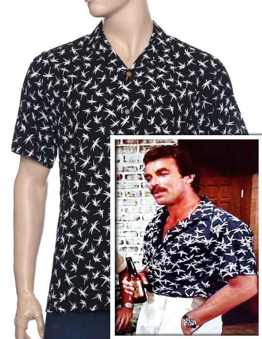 a278fa37 Magnum Bamboo Aloha Shirt a Rayon Magnum PI Design: Shaka Time Hawaii  Clothing Store