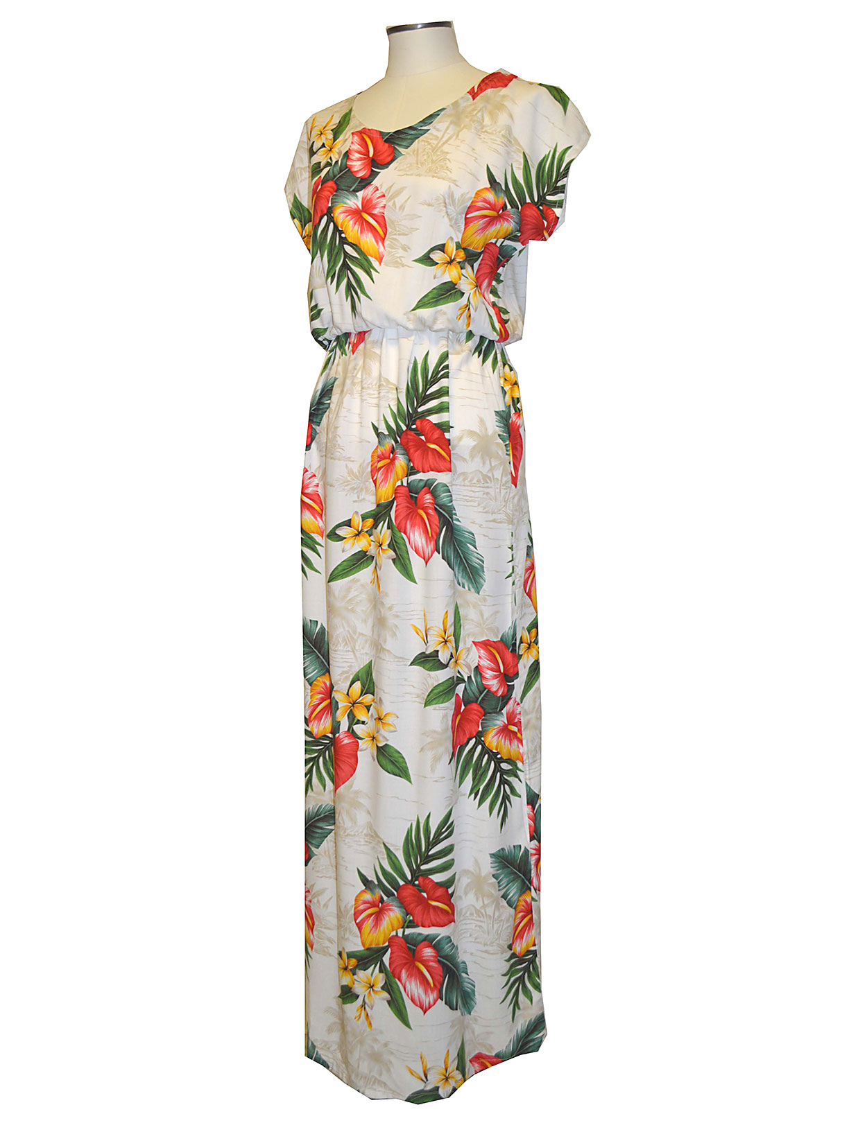 Full Length Anthurium Galore Hawaiian Rayon Dress Cap