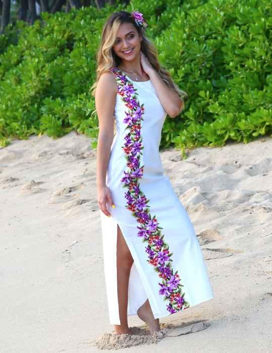 Maxi Wedding Hawaiian Dress Side Design Manele