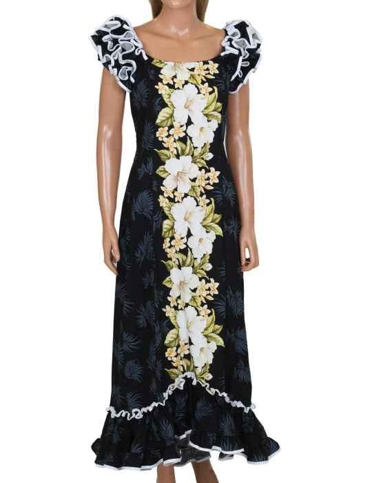b60fc147a3e2 Maxi Long Muumuu Ruffled Dress White Hibiscus  Shaka Time Hawaii Clothing  Store