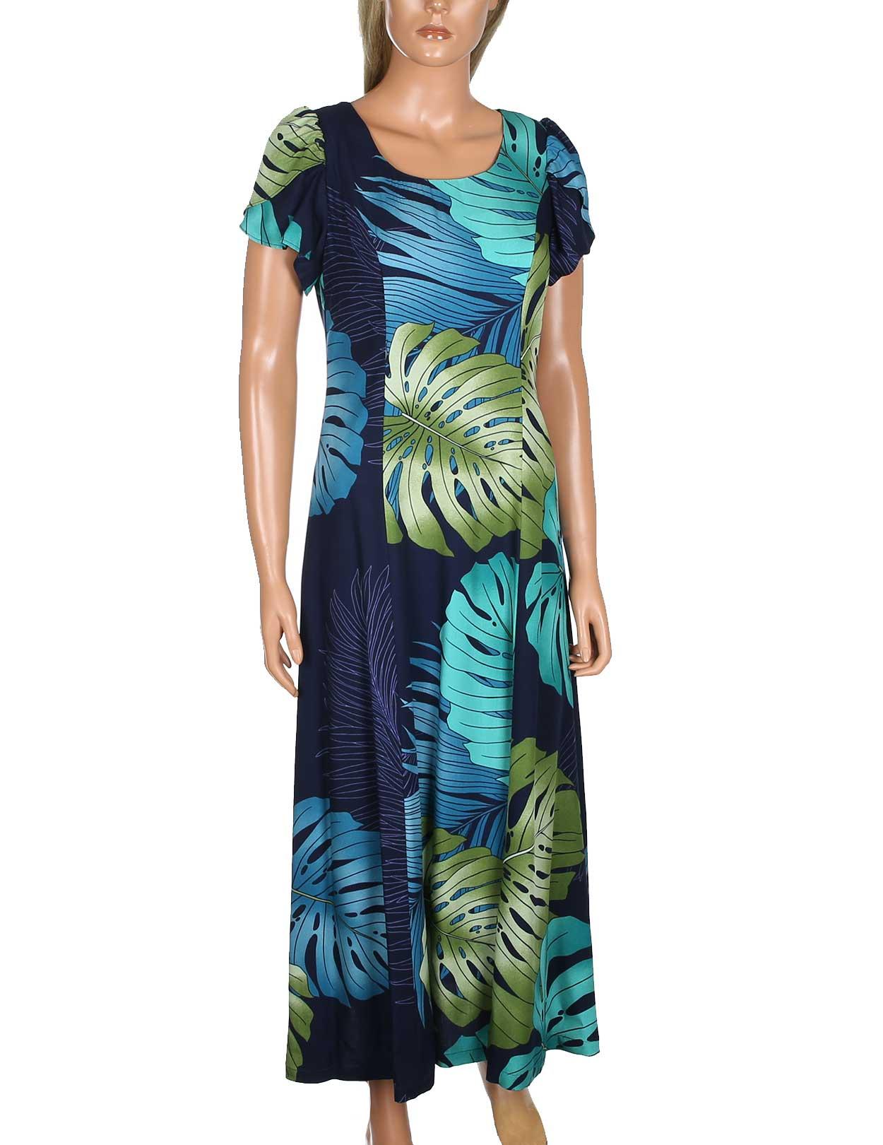 Maxi aloha dress kimi design with tulip sleeves shaka for Hawaiian wedding dresses with sleeves