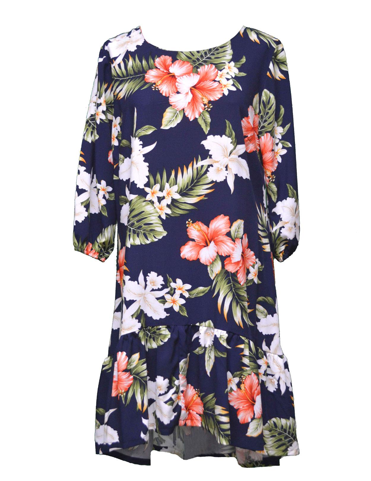 74c6cfaef56 Pupukea Hibiscus Short Flower Dress with 3 4 Sleeves  Shaka Time Hawaii  Clothing Store